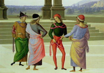 The Marriage of the Virgin detail of four men in conversation 1500 04 | Pietro Perugino | oil painting