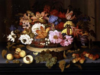 Still Life of Fruit and a Basket of Flowers 1623 | Balthasar van der Ast | oil painting