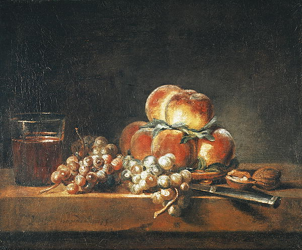 Still Life of Peaches Nuts Grapes and a Glass of Wine 1758   Jean Baptiste Simeon Chardin   oil painting