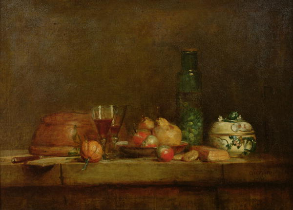 Still Life with a Bottle of Olives 1760 | Jean Baptiste Simeon Chardin | oil painting