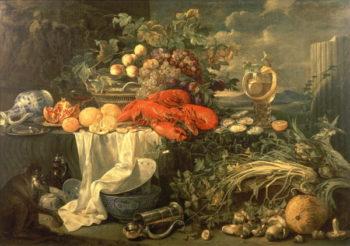 Still Life with a Monkey 1670 95   Jan Jansz de Heem   oil painting