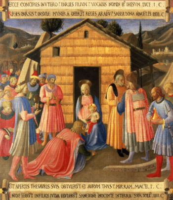 The Adoration of the Magi detail from panel one of the Silver Treasury of Santissima Annunziata 1450 53 | Fra Angelico | oil painting