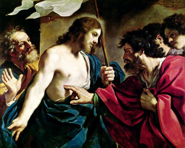 The Incredulity of St Thomas   Guercino   oil painting