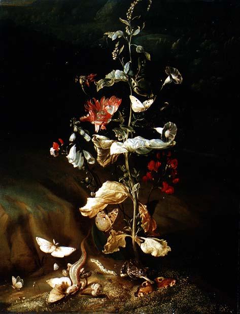 Still life with flowers | Otto Marseus van Schrieck | oil painting
