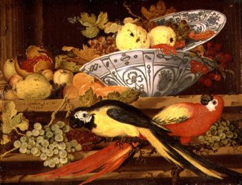 Still Life with Fruit and Macaws 1622 | Balthasar van der Ast | oil painting