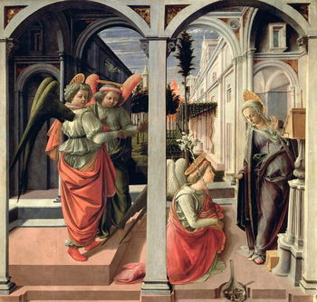 The Annunciation with Three Angels 1440 | Fra Filippo Lippi | oil painting