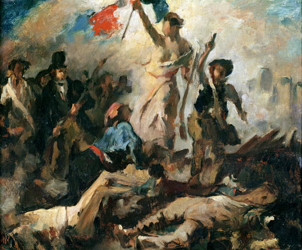 Study for Liberty Leading the People   Delacroix   oil painting