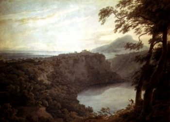 The Lake of Nemi and the town of Genzano | John Robert Cozens | oil painting