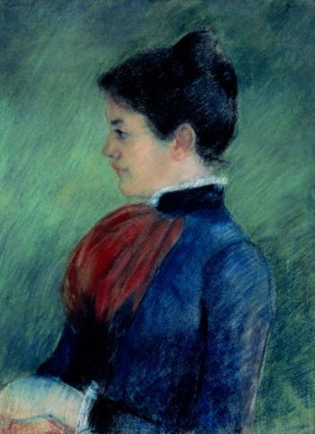 Study of a Woman in a Blue Blouse with a Red Ruff 1895 | Mary Stevenson Cassatt | oil painting