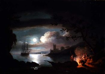 Teignmouth by moonlight | Thomas Luny | oil painting