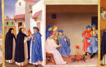 The Coronation of the Virgin detail of St Dominic giving back the book to the the Albigensians 1430 32 | Fra Angelico | oil painting