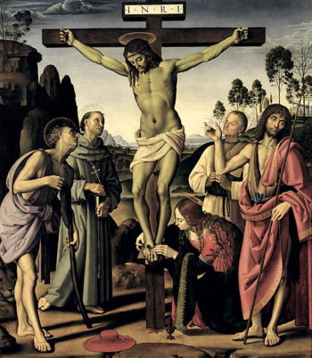 The Crucifixion with Saints Jerome Francis Mary Magdalene John the Baptist and the blessed Giovanni Colombini 1480 1500 | Pietro Perugino | oil painting