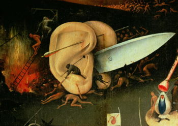 The Garden of Earthly Delights Hell right wing of triptych detail of ears with a knife 1500 | Hieronymus Bosch | oil painting