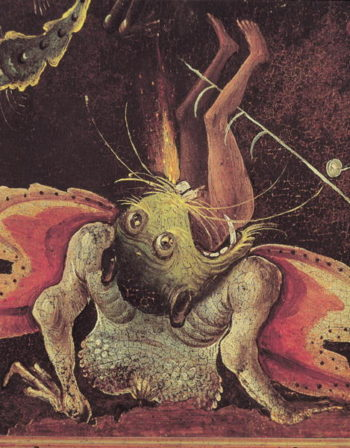 The Last Judgement detail of a man being eaten by a monster 1504 | Hieronymus Bosch | oil painting