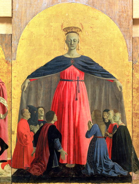 The Madonna of Mercy central panel from the Misericordia altarpiece 1445 | Piero della Francesca | oil painting
