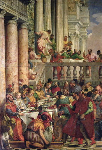 The Marriage Feast at Cana detail of the left hand side 1562 | Veronese | oil painting