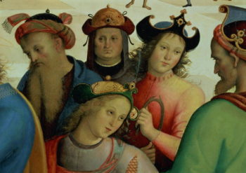 The Marriage of the Virgin detail of the suitors 1500 04 | Pietro Perugino | oil painting