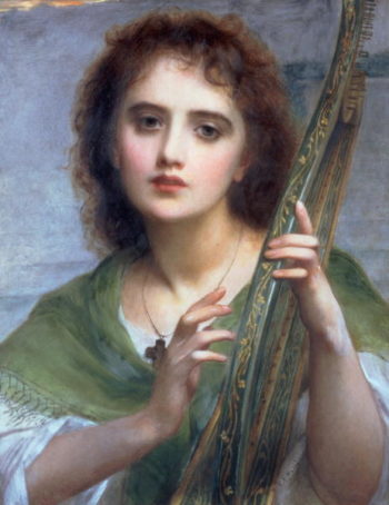 A Lady with Lyre | Charles Edward Halle | oil painting