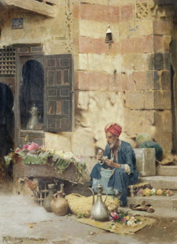 The Flower Seller 1891 | Raphael von Ambros | oil painting