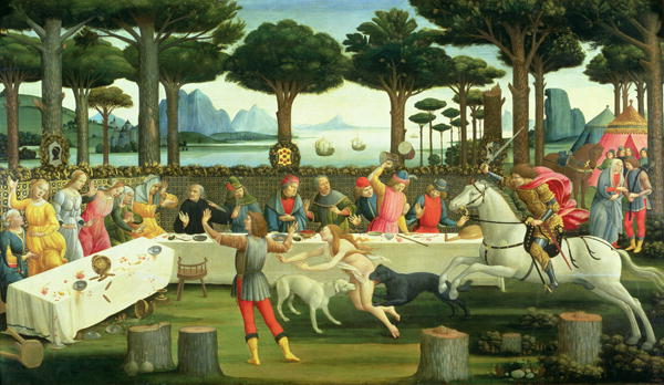 The Story of Nastagio degli Onesti Nastagio Arranges a Feast at which the Ghosts Reappear 1483 87 | Sandro Botticelli | oil painting