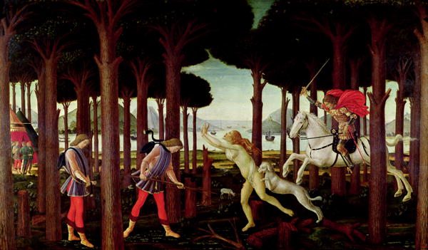 The Story of Nastagio degli Onesti Nastagio's Vision of the Ghostly Pursuit in the Forest 1483 or 1487 | Sandro Botticelli | oil painting
