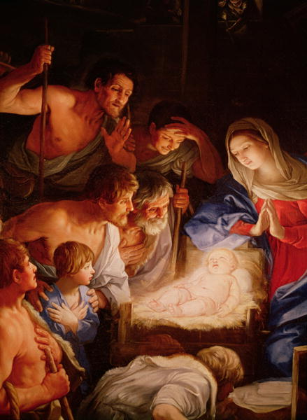 The Adoration of the Shepherds detail of the group surrounding Jesus   Guido Reni   oil painting