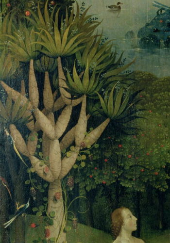 The Tree of the Knowledge of Good and Evil detail from the right panel of The Garden of Earthly Delights 1500 | Hieronymus Bosch | oil painting
