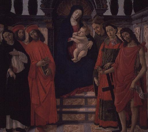 The Virgin and Child with St John the Baptist St Damian and St Cosmo | Sandro Botticelli | oil painting