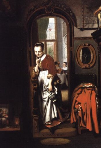 The Listening Housewife   Nicolaes Maes   oil painting