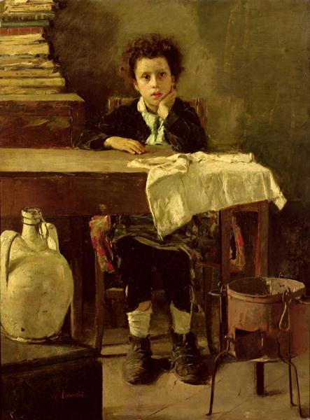 The Little Schoolboy or The Poor Schoolboy | Antonio Mancini | oil painting