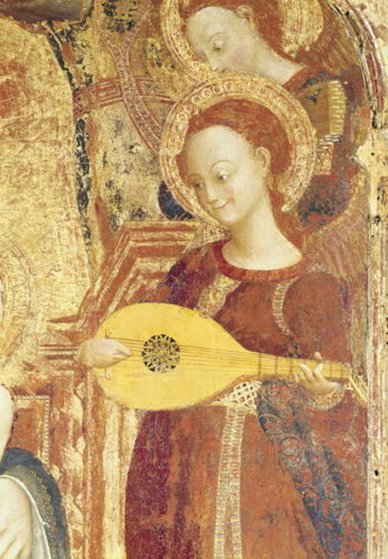 Virgin and Child Enthroned with six angels detail of an angel musician 1437 44 | Sassetta | oil painting