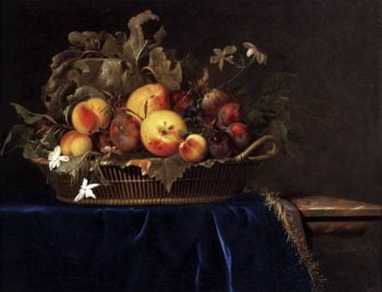 Still Life with a Basket of Fruit on a Marble Ledge 1650 | Willem Van Aelst | oil painting