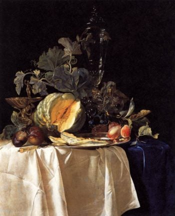Still Life with Fruit and Crystal Vase 1652 | Willem Van Aelst | oil painting