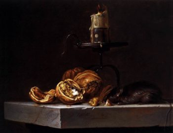 Still Life with Mouse and Candle 1647 | Willem Van Aelst | oil painting