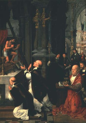 The Mass of St Gregory | Adriaen Isenbrandt or Isenbran | oil painting