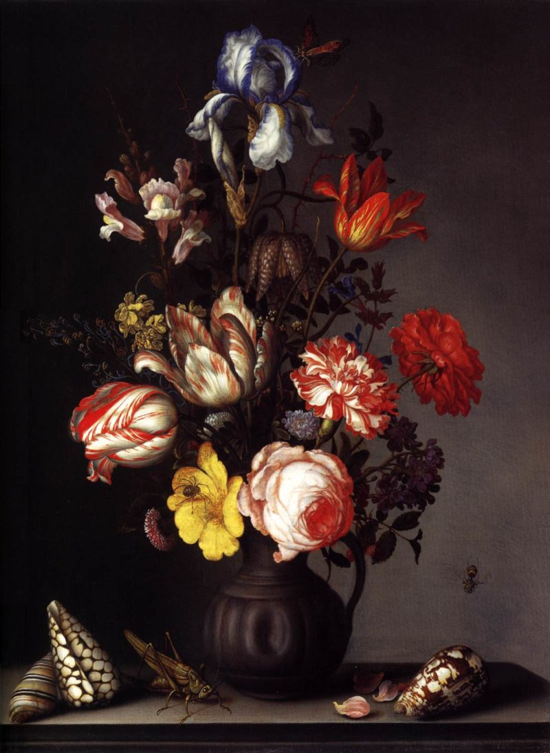 Flowers in a Vase with Shells and Insects 1630 | Balthasar Van Der Ast | oil painting