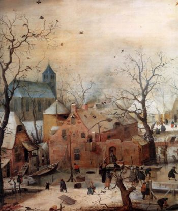 Winter Landscape with Skaters (detail) 1608 | Hendrick Avercamp | oil painting