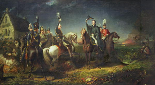 The Meeting of the Duke of Wellington and Field Marshal Blucher | Thomas Jones Barker | oil painting