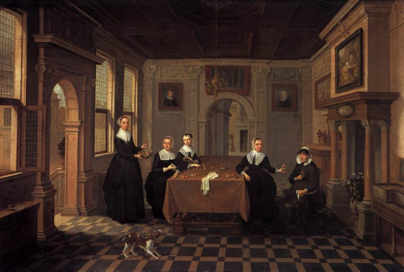 A Company in an Interior | Bartholomeus Van Bassen | oil painting