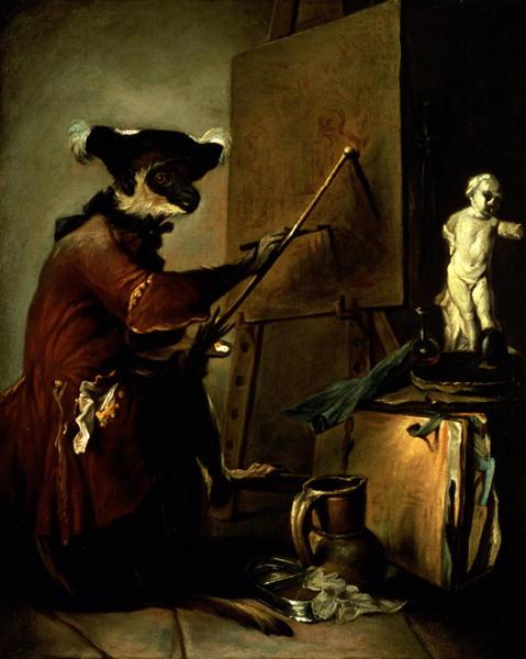 The Monkey Painter 1740 | Jean Baptiste Simeon Chardin | oil painting