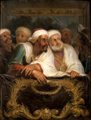The Moroccan Ambassador and his Entourage at the Italian Comedy in Paris in February 1682 1682   Antoine Coypel   oil painting