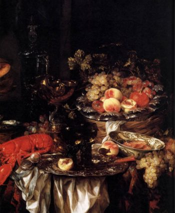 Banquet Still Life with a Mouse (detail) 1667 | Abraham Van Beyeren | oil painting