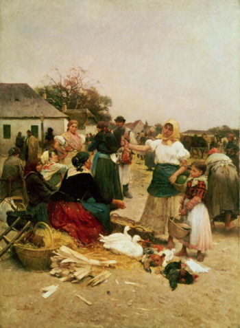 The Poultry Market 1885 | Lajos Deak Ebner | oil painting