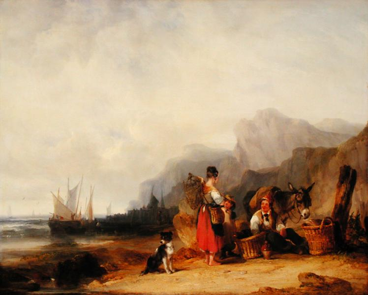 The Prawn Fishers 1835 | William Snr Shayer | oil painting