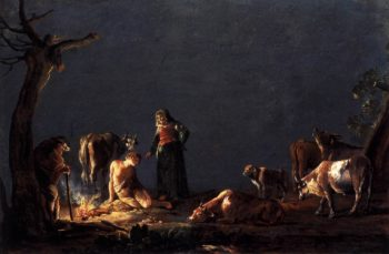 Peasants by a Fire 1626   Leonaert Bramer   oil painting