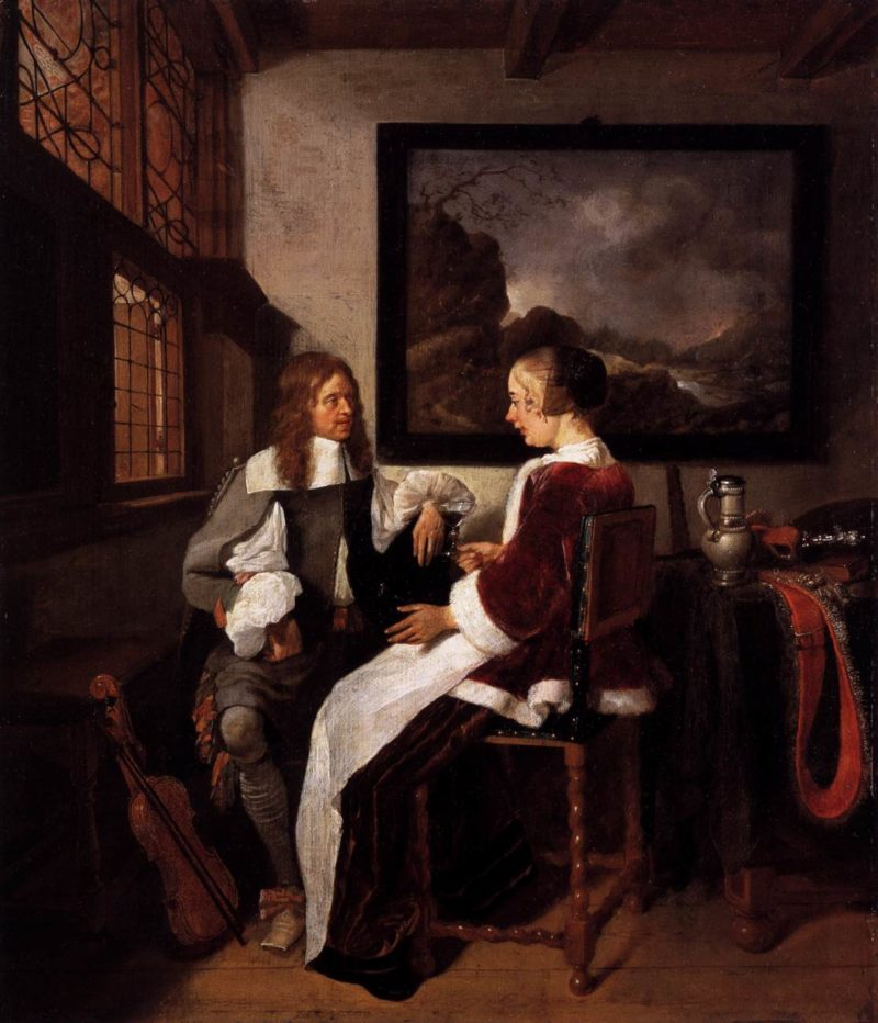 Gallant Conversation 1663 | Quiringh Van Brekelenkam | oil painting