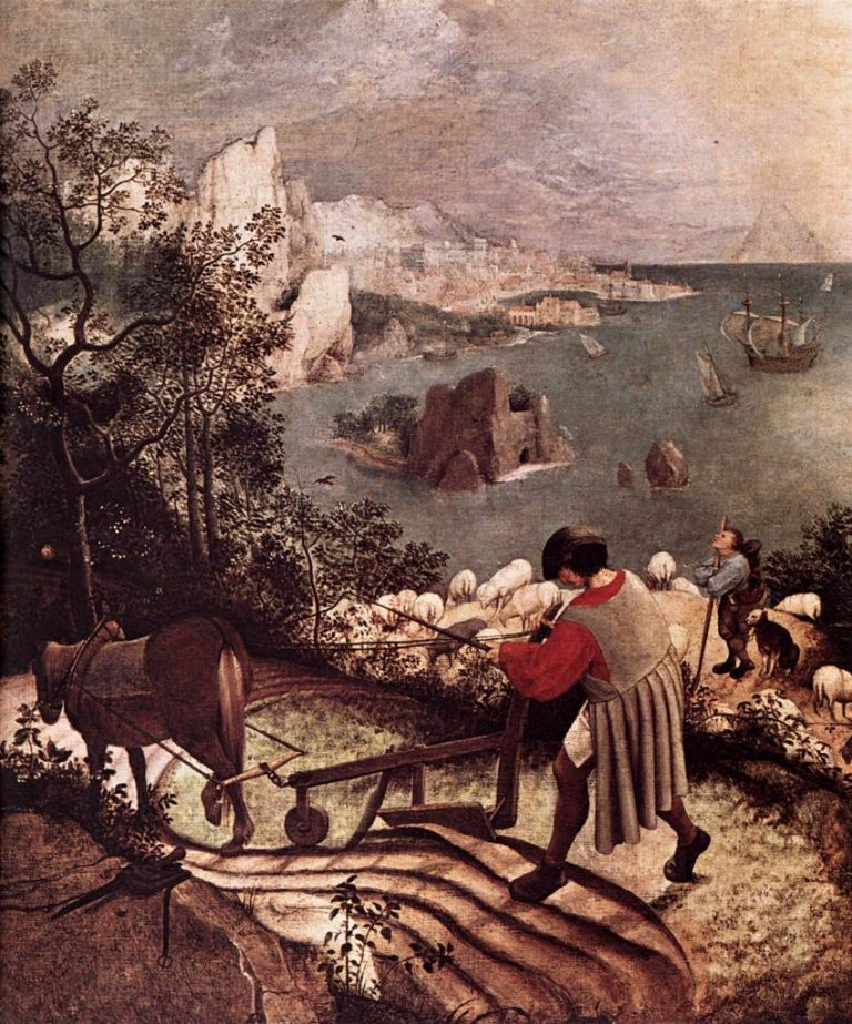 Landscape with the Fall of Icarus (detail) 1555   Pieter The Elder Bruegel   oil painting