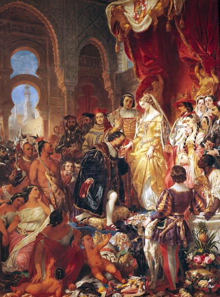 The Reception of Christopher Columbus | Eugene Deveria | oil painting