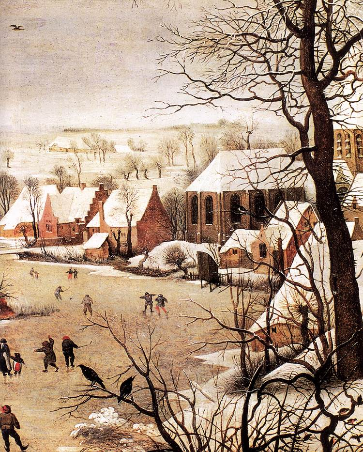 Winter Landscape with Skaters and a Bird Trap (detail) 1565 | Pieter The Elder Bruegel | oil painting