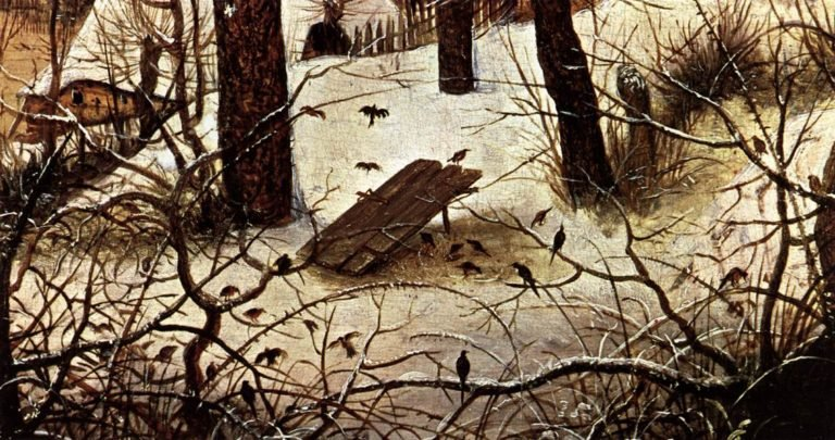 Winter Landscape with Skaters and a Bird Trap (detail) 1565   Pieter The Elder Bruegel   oil painting